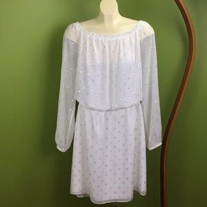 White House Black Market white dress, gold stitch